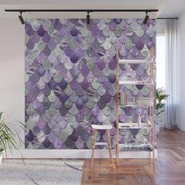 Mermaid Purple and Silver Wall Mural
