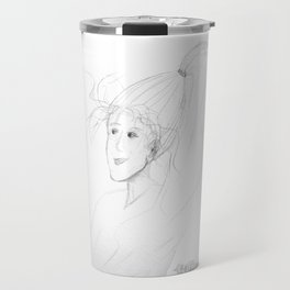sketch of a woman with windswept hair and long ponytail Travel Mug