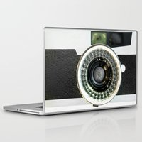 vintage camera Laptop & iPad Skins featuring Vintage camera by cafelab