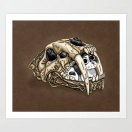 Saber Tooth Skull Art Print