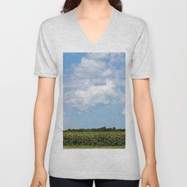 Field of Sunflowers Vertical Unisex V-Neck