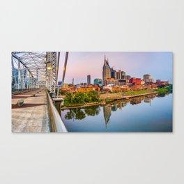 Nashville Skyline Panorama from the John Seigenthaler Pedestrian Bridge Canvas Print