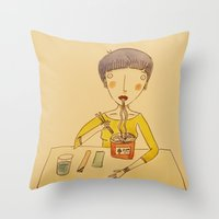 ramen Throw Pillows featuring Ramen by Ghila Valabrega