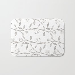 Gray ivory hand drawn watercolor leaves floral berries pattern Bath Mat