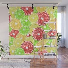Lemon, orange, grapefruit and lime slices pattern design Wall Mural