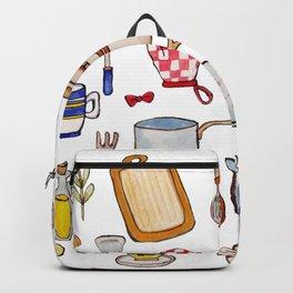 Watercolor Kitchen Utensils Backpack