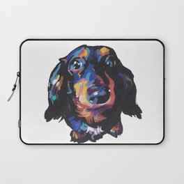 Dachshund Dog bright colorful Doxie Portrait Pop Art Painting by LEA Laptop Sleeve
