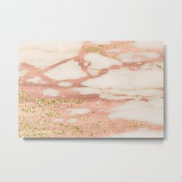 Marble - Rose Gold Shimmer Marble with Yellow Gold Glitter Metal Print