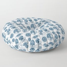 Ernst Haeckel Jellyfish Leptomedusae Prussian Blue Floor Pillow