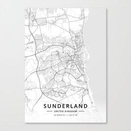 Sunderland, United Kingdom - Light Map Canvas Print