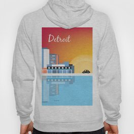 Detroit, Michigan - Skyline Illustration by Loose Petals Hoody