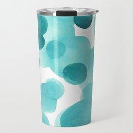 Aqua Bubbles: Abstract turquoise watercolor painting Travel Mug
