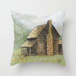 Log Cabin in Smokies Throw Pillow