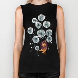 Lion on dandelion Biker Tank