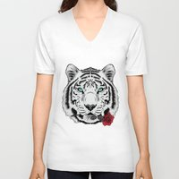 rose V-neck T-shirts featuring Rose by Roland Banrevi