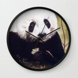 Panda Bear Pastel Painting Wall Clock