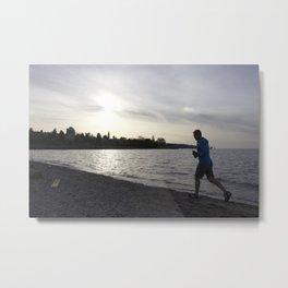 Jogger at Kits Beach During Sunset Metal Print
