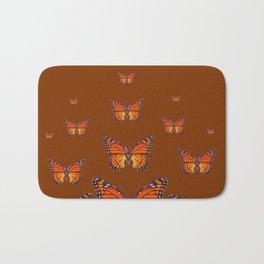 ORANGE MONARCH BUTTERFLIES COFFEE BROWN Bath Mat