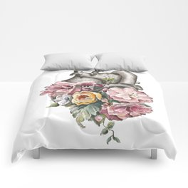 Floral Anatomy Heart Comforters