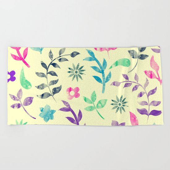 Colorful Floral Pattern V Beach Towel