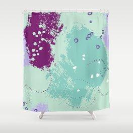 Mint viole strokes Shower Curtain