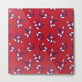 Red Tropical Botanical Leaf Pattern Metal Print