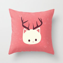 Reindeer Cat Throw Pillow