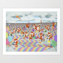 donna's birthday fox party Art Print