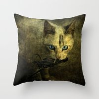 abigail larson Throw Pillows featuring Abigail with prey by AliceArtDotCom