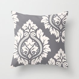 Decorative Damask Art I Cream on Grey Throw Pillow