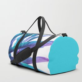 Tropical Flair - Foliage glitch in blue, Aqua and Purple Duffle Bag