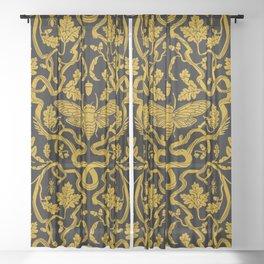 Cicada Oak Damask Sheer Curtain
