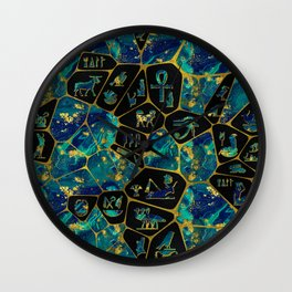 Egyptian  Gold and Marble Voronoi diagram Wall Clock