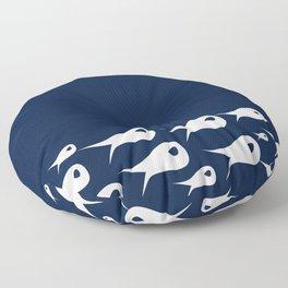 Fish Stripe 2. Minimalist Mid-Century Modern Fish School in White on Nautical Navy Blue Solid Floor Pillow