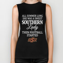 all summer long she was s sweet southern lady the football started football Biker Tank