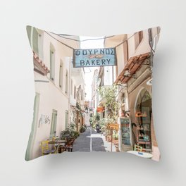 Street In Greece Photo | Pastel Village Houses Summer Art Print | Europe Digital Travel Photography Throw Pillow