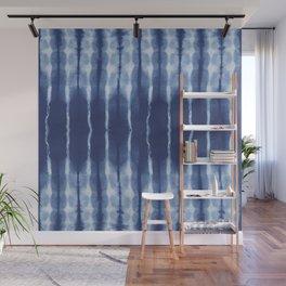 Blue shibori scratched Wall Mural