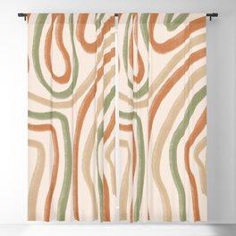 Abstract Line Boho Earth Tones  Blackout Curtain