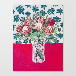 Bouquet of Proteas with Matisse Cutout Wallpaper Canvas Print