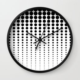 Reduced Black Polka Dots on Solid White Background Minimal Graphic Design Wall Clock