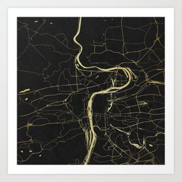Prague Black and Gold Map Art Print