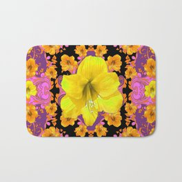 TROPICAL YELLOW & GOLD AMARYLLIS FLOWERS PATTERN ON Bath Mat
