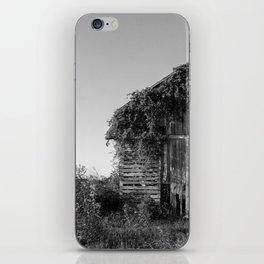 Abandoned Barn Garden (Black & White Photography) iPhone Skin