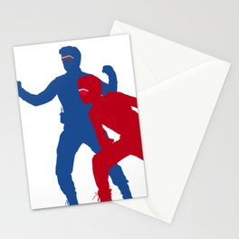 Captain Man and Kid Danger silhouettes with masks Stationery Cards