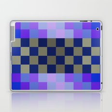 blue tiles, geometric design, blue square, oriental pattern, abstract design, gold, checkerboard art Laptop & iPad Skin