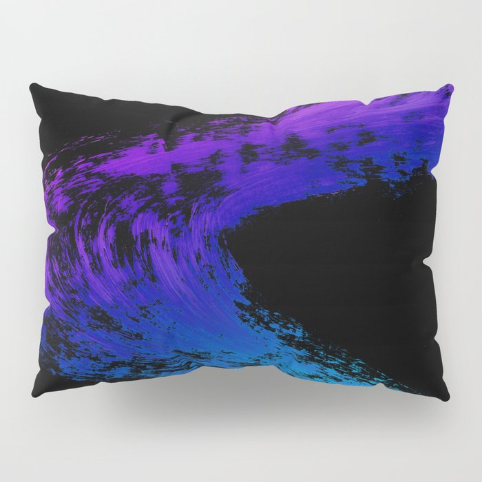 Fuchsia to Sky Blue Brush Drip Abstract Painting on Black Pillow Sham