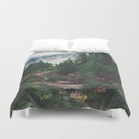 mountain Duvet Covers featuring Mountain Trails by Kurt Rahn