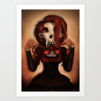 theatre Art Prints featuring Skull Theatre by Anna Lisa Wardle
