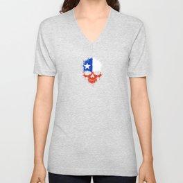 Flag of Chile on a Chaotic Splatter Skull Unisex V-Neck