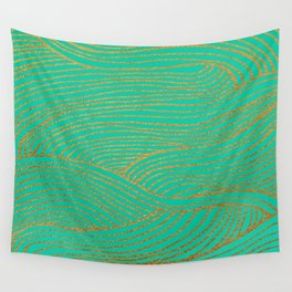 Wind Gold Turquoise Wall Tapestry